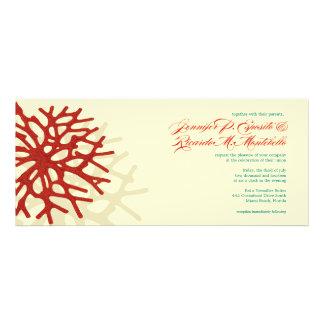 Invitación coralina del boda del filón del océano