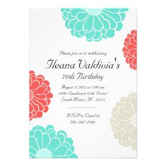 Invitación coralina del cumpleaños de la flor del