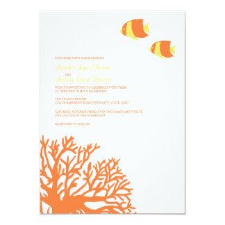 Invitación coralina tropical anaranjada y amarilla invitación 12,7 x 17,8 cm