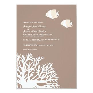 Invitación coralina tropical blanca y de marfil invitación 12,7 x 17,8 cm