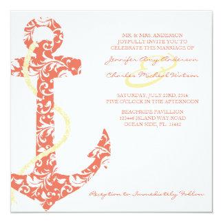 Invitación coralina y amarilla del boda de playa invitación 13,3 cm x 13,3cm