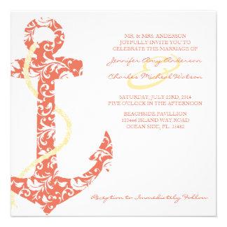 Invitación coralina y amarilla del boda de playa d