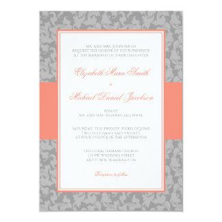 Invitación coralina y gris del boda del remolino invitación 12,7 x 17,8 cm