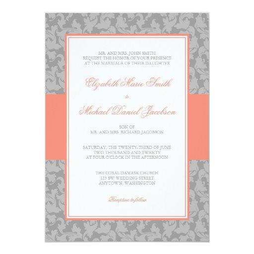 Invitación coralina y gris del boda del remolino