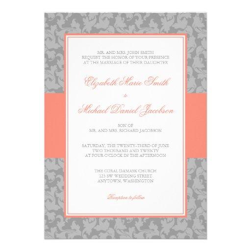 Invitación coralina y gris del boda del remolino d