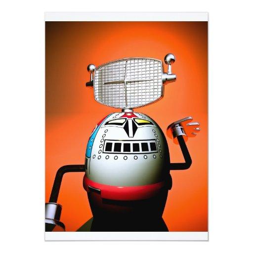 Invitación cosechada retra del robot 03 del invitación 12,7 x 17,8 cm