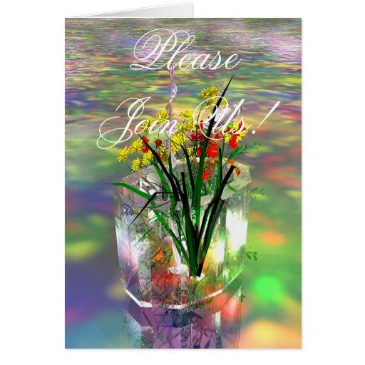 Invitación cristalina del florero tarjeta pequeña