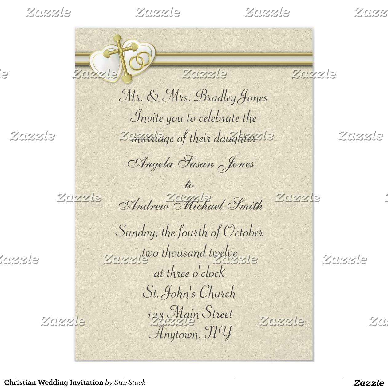 Invitación cristiana de la boda
