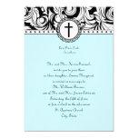 Invitación cristiana del boda del damasco azul