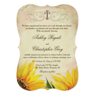 Invitación cristiana del boda - girasoles