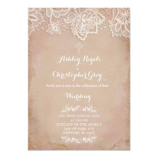 Invitación cristiana rosada del boda del vintage