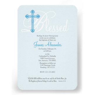 invitación cruzada azul del bautismo del BAUTIZO
