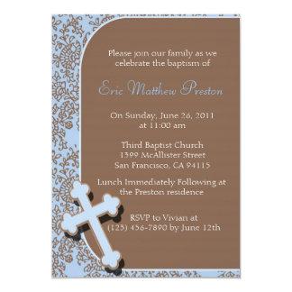 Invitación cruzada azul del bautismo/del bautizo