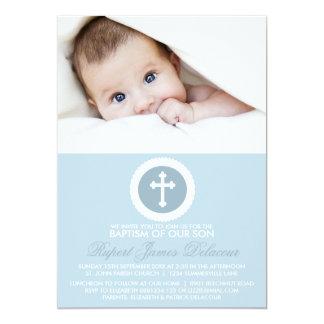 Invitación cruzada azul y blanca de la foto del