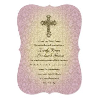 Invitación cruzada católica del boda de la