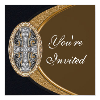 Invitación cruzada cristiana elegante del fiesta