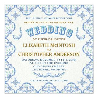 Invitación cruzada del boda del país