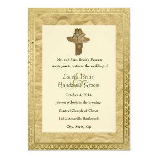 Invitación cruzada del boda del vintage del invitación 12,7 x 17,8 cm