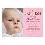 Invitación cruzada elegante del bautismo de la fot
