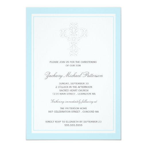 Invitación cruzada elegante del bautizo del bebé