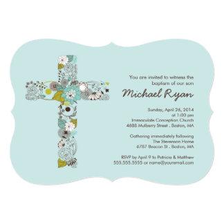 Invitación cruzada floral azul moderna del