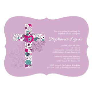 Invitación cruzada floral rosada moderna del