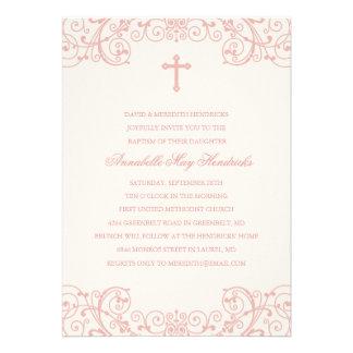 Invitación cruzada rosada del bautismo/del bautizo