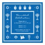 Invitación cuadrada azul del adorno de Jánuca