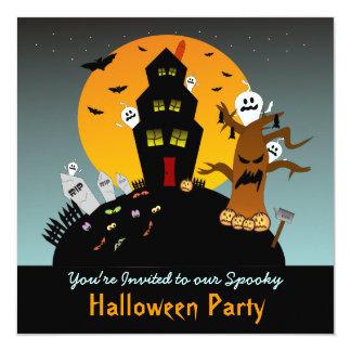 Invitación cuadrada de Halloween de la casa