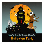 Invitación cuadrada de Halloween de la casa encant