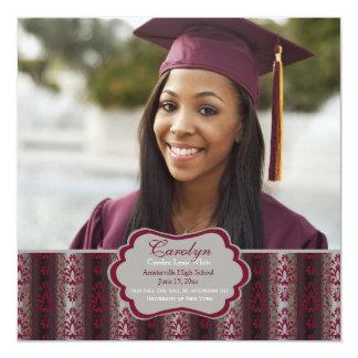 Invitación cuadrada de la foto de la graduación de