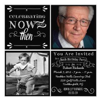 Invitación cuadrada de la foto del 80 o cumpleaños