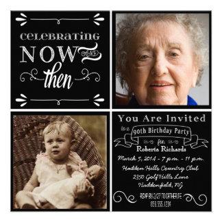 Invitación cuadrada de la foto del 90 o cumpleaños