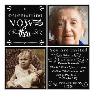 Invitación cuadrada de la foto del 90.o cumpleaños invitación 13,3 cm x 13,3cm