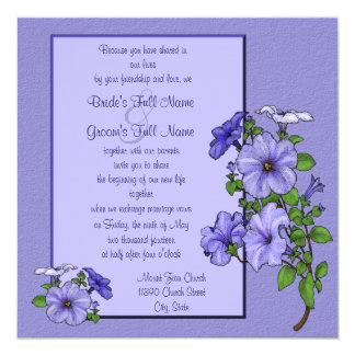 Invitación cuadrada de las petunias