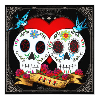 Invitación cuadrada de los cráneos del amor