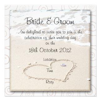 Invitación cuadrada del boda de la PLAYA