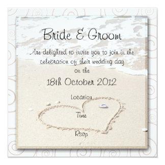 Invitación cuadrada del boda de la PLAYA Invitación 13,3 Cm X 13,3cm