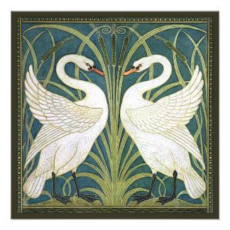 Invitación cuadrada del boda de los cisnes del vin