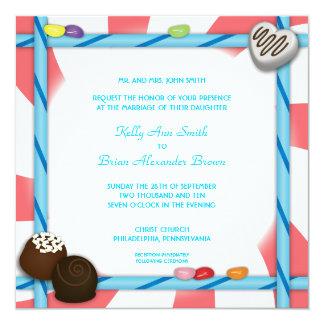 Invitación cuadrada del caramelo