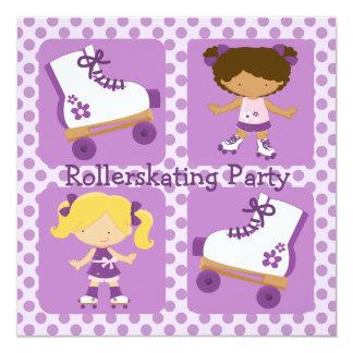 Invitación cuadrada del fiesta del Rollerskating