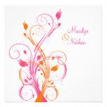 Invitación cuadrada floral blanca rosada