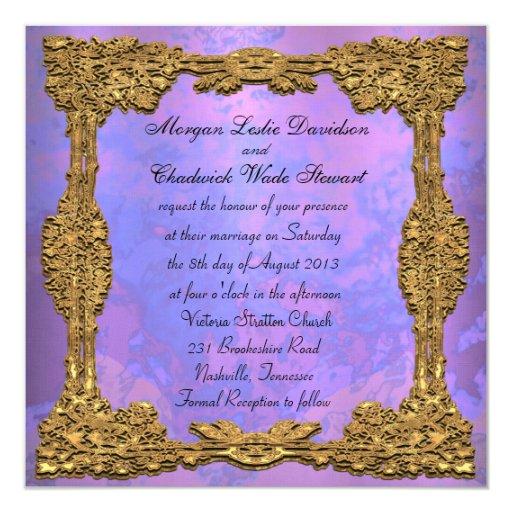 Invitación cuadrada formal del boda de la gala de