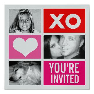 invitación cuadrada triple de la tarjeta del día