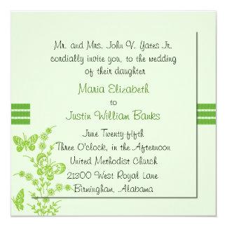 Invitación cuadrada verde bonita del boda