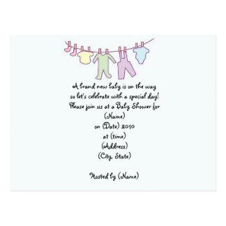 Invitación-Cuerda para tender la ropa personalizad Tarjetas Postales