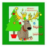 Invitación dañosa del navidad del reno