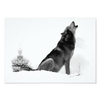 Invitación de Alaska del lobo de madera