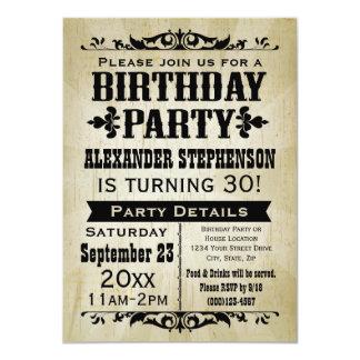 Invitación de antaño de la fiesta de cumpleaños invitación 11,4 x 15,8 cm