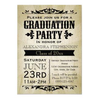 Invitación de antaño de la fiesta de graduación de